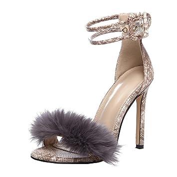 feiXIANG Damen Sandalen Schuhe Frauen High Heels Schuhe Urlaub Party Offene Zehen Sandalen