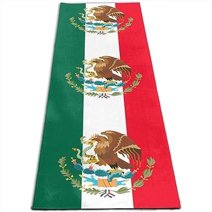 Amazon.com: Mexico Flag Art Printed Yoga Mat Prana Yoga Mat ...
