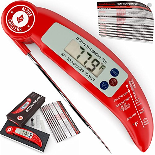 Instant Read BBQ Meat Thermometer For Grill And Cooking. Sold In Elegant Gift Box. Best Ultra Fast Digital Kitchen Probe. Includes Internal Meat Temperature Guide. By Alpha Grillers