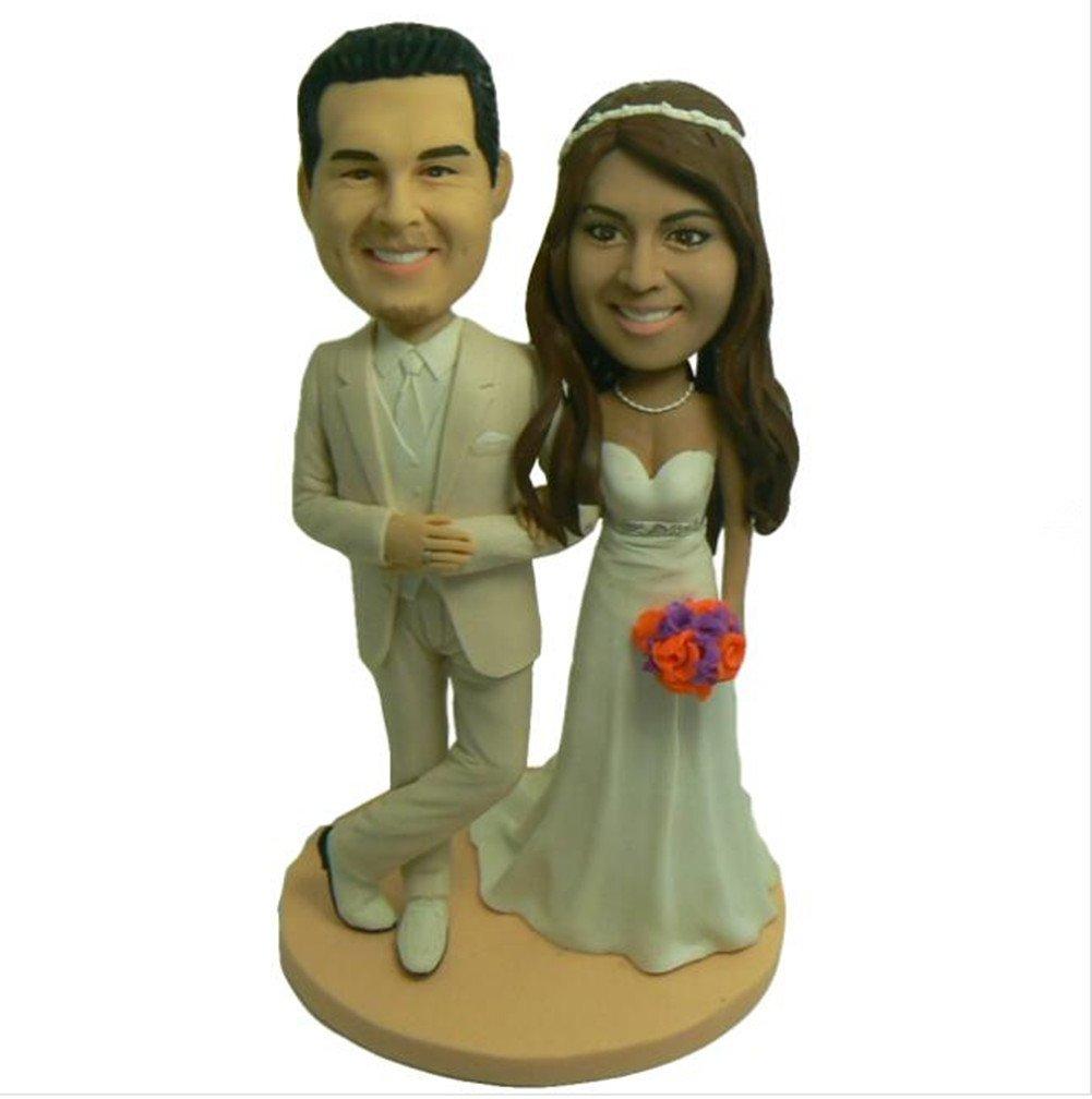 Custom Create Your Own Elegant Couple Wedding Bobble head Polymer Clay Handmade Bobbleheads Cake Toppers