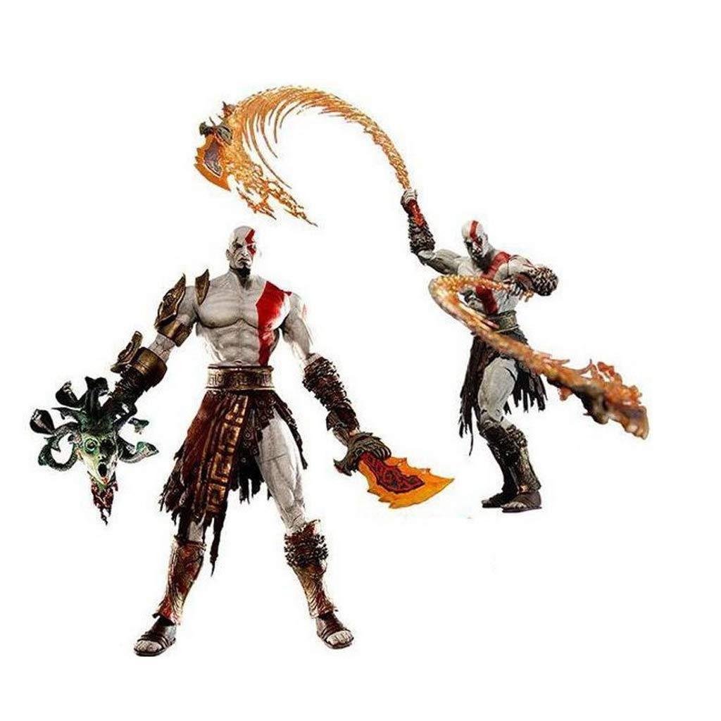 C IVNGRI Anime Charakter Modell Ares 7 Zoll Kratos Messer Feuer Version Bewegliche Modell Statue Geschenk Souvenir Handwerk Urlaub Geschenk Dekoration (18 cm) (Farbe   C)
