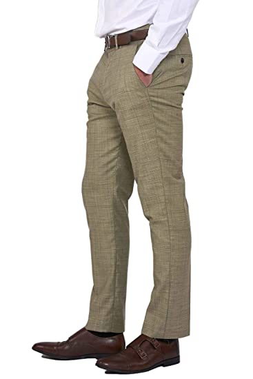 Mens Marc Darcy Slim Fit Trousers Tweed Tan Check Formal Suit Pants
