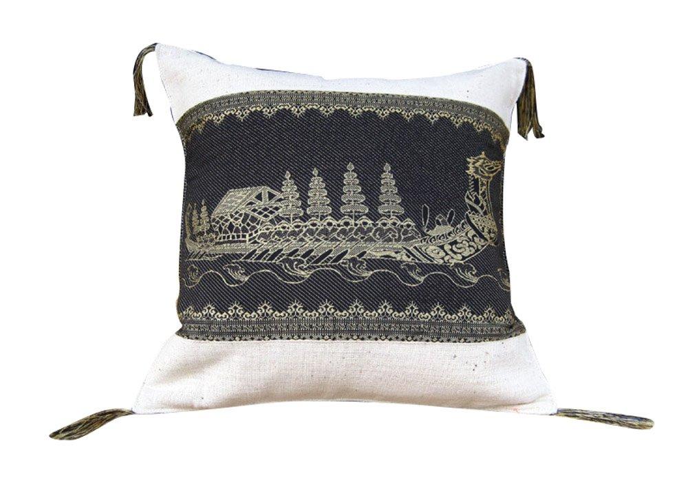 RaanPahMuang Thai Boat Art Throw Pillow Case 16in Silk Motif on Cotton Set of 3, Black on Cream
