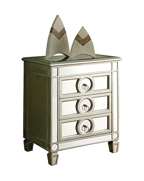 Amazon Monarch Specialties 3 Drawer Accent Table Mirrored