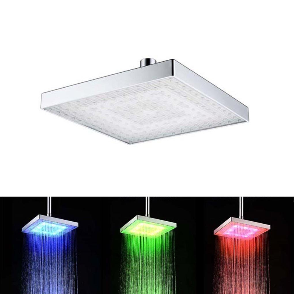 Soffione doccia, 7 Colori Cambiare Piazza doccia acqua della testa di flusso alimentato da 8 pollici ABS finitura cromata per il bagno LONGDUN
