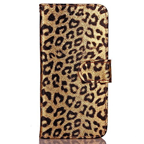 Iphone 7 case,Iphone 8 phone case, with PU Leather Luxury Leopard Pattern Wallet Flip Case Card Slots With Magnetic Closure Wallet Case for Iphone 7 Iphone 8 (gold) (Leopard Wallet)