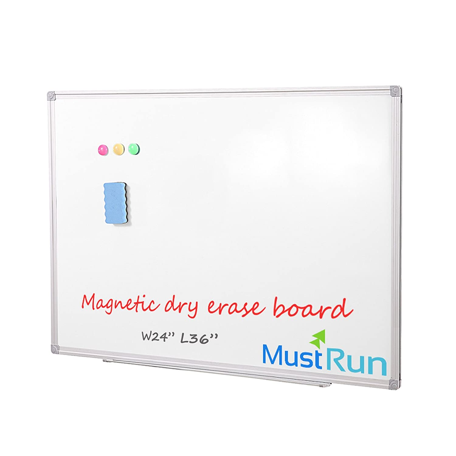 """MustRun 24""""x36""""Magnetic Dry Erase Board Whiteboard With Silver Aluminum Frame,Wall Mounted(1 Erase&3 Magnets)"""