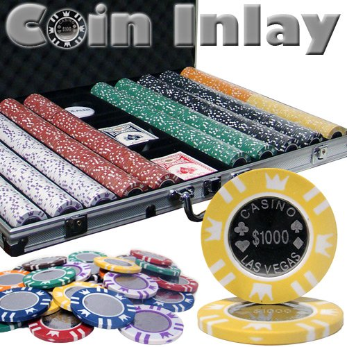 Brybelly 1,000 Ct Coin Inlay Poker Set - 15g Clay Composite Chips with Aluminum Case, Playing Cards, Dealer Button ()
