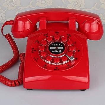 Teléfono antiguo del estilo, Retro Cable Fijo Europeo Diseño giratorio Para Oficina Inicio Teléfono fijo-Rojo A: Amazon.es: Electrónica