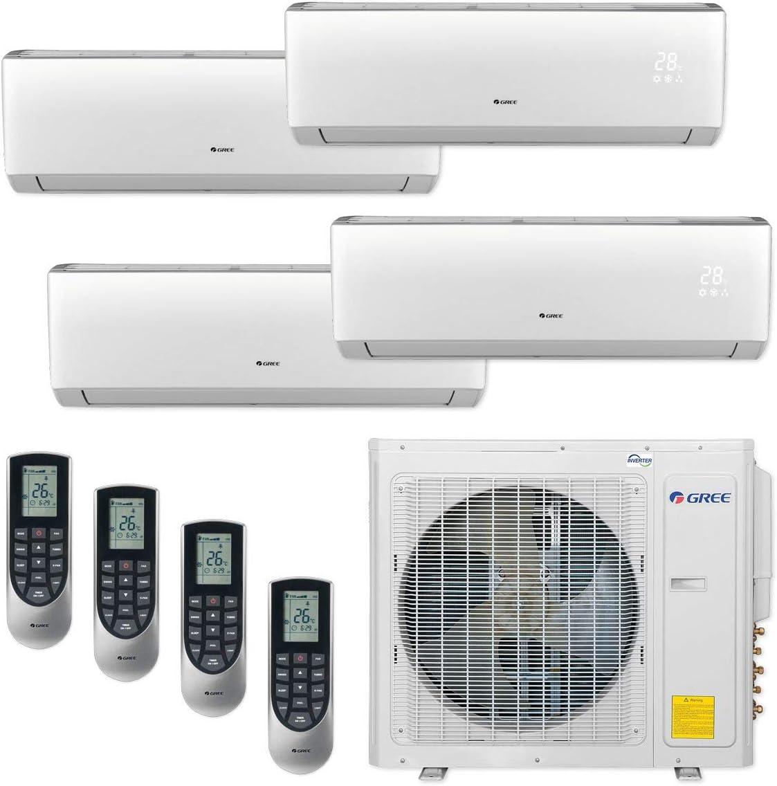 GREE MULTI30CVIR400-30,000 BTU Multi21+ Quad-Zone Wall Mount Mini Split Air Conditioner Heat Pump 208-230V (9-9-9-9)