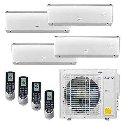 Gree MULTI30CVIR401-30,000 BTU Multi21+ Quad-Zone Wall Mount Mini Split Air  Conditioner Heat Pump 208-230V (9-9-9-12)