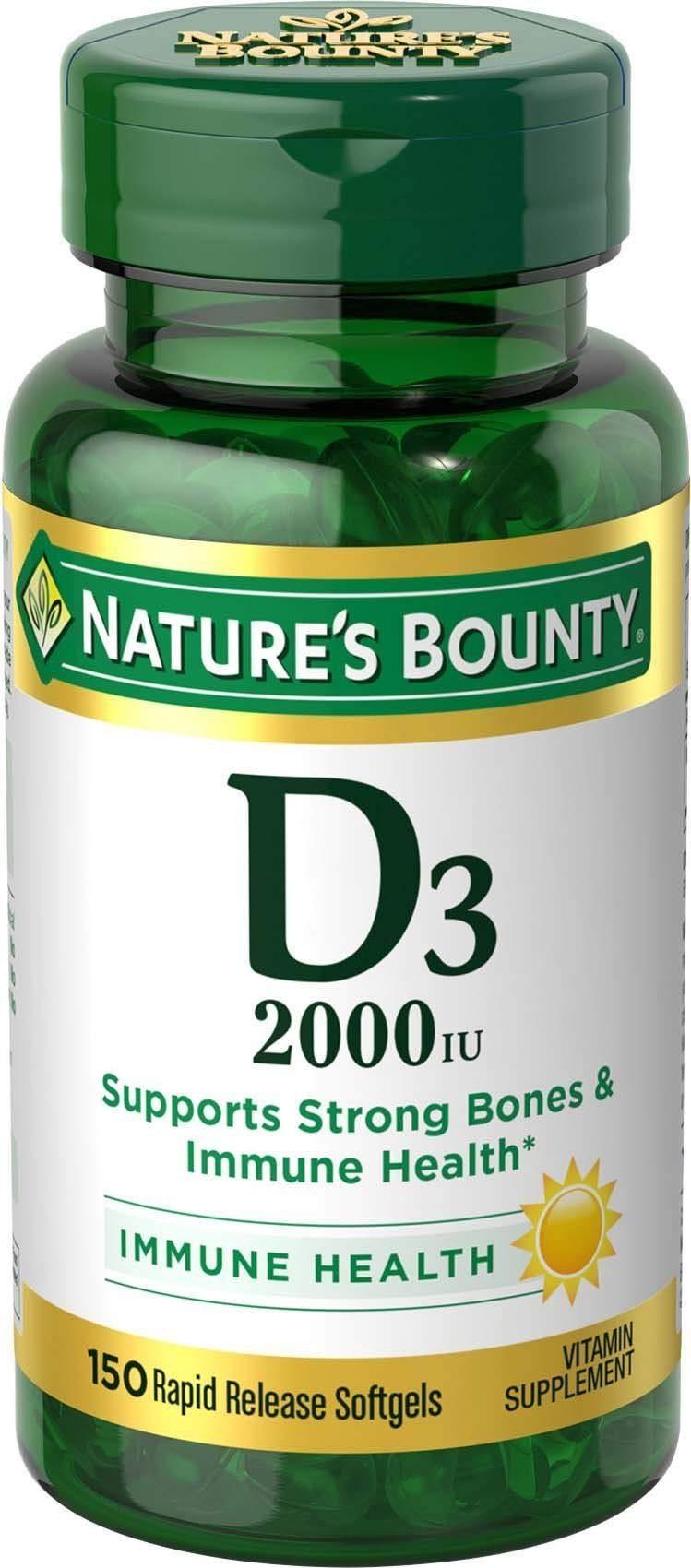 Vitamin D by Nature's Bounty, Supports Immune Health & Bone Health, 2000IU Vitamin D3, 150 Softgels