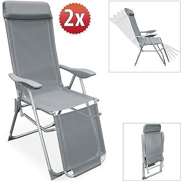 Set de 2 fauteuils de jardin - Pliable réglable - Chaise longue ...