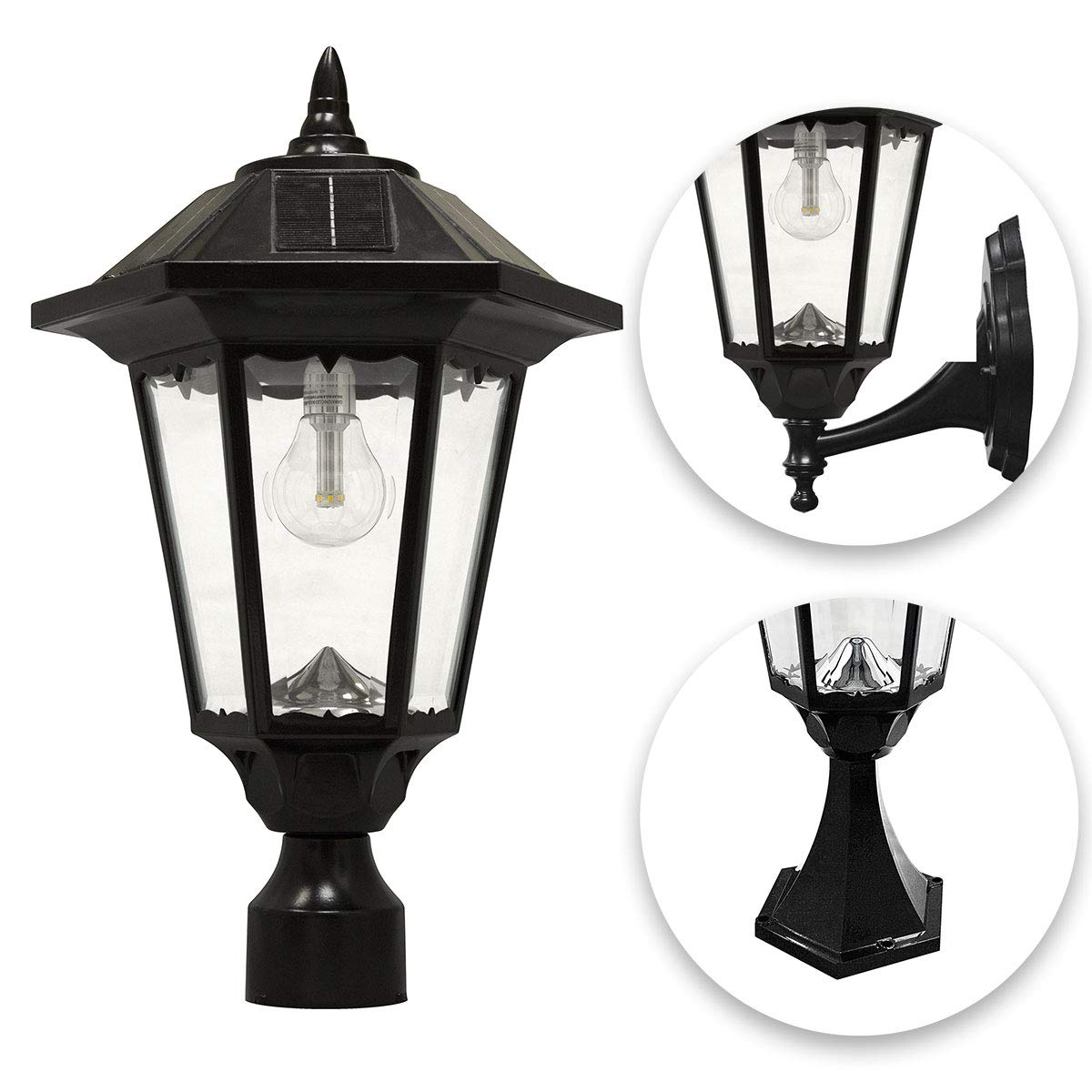 GAMA SONIC Windsor Bulb Solar Light, Outdoor Solar Powered LED, Wall or Post Mount, Black GS-99B-FPW