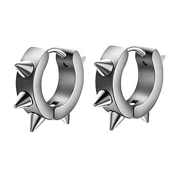 480bd6077 Minshao Men Women Stainless Steel Hoop Spike Circle Huggie Punk Cool Studs  Earring (Silver): Amazon.co.uk: Baby