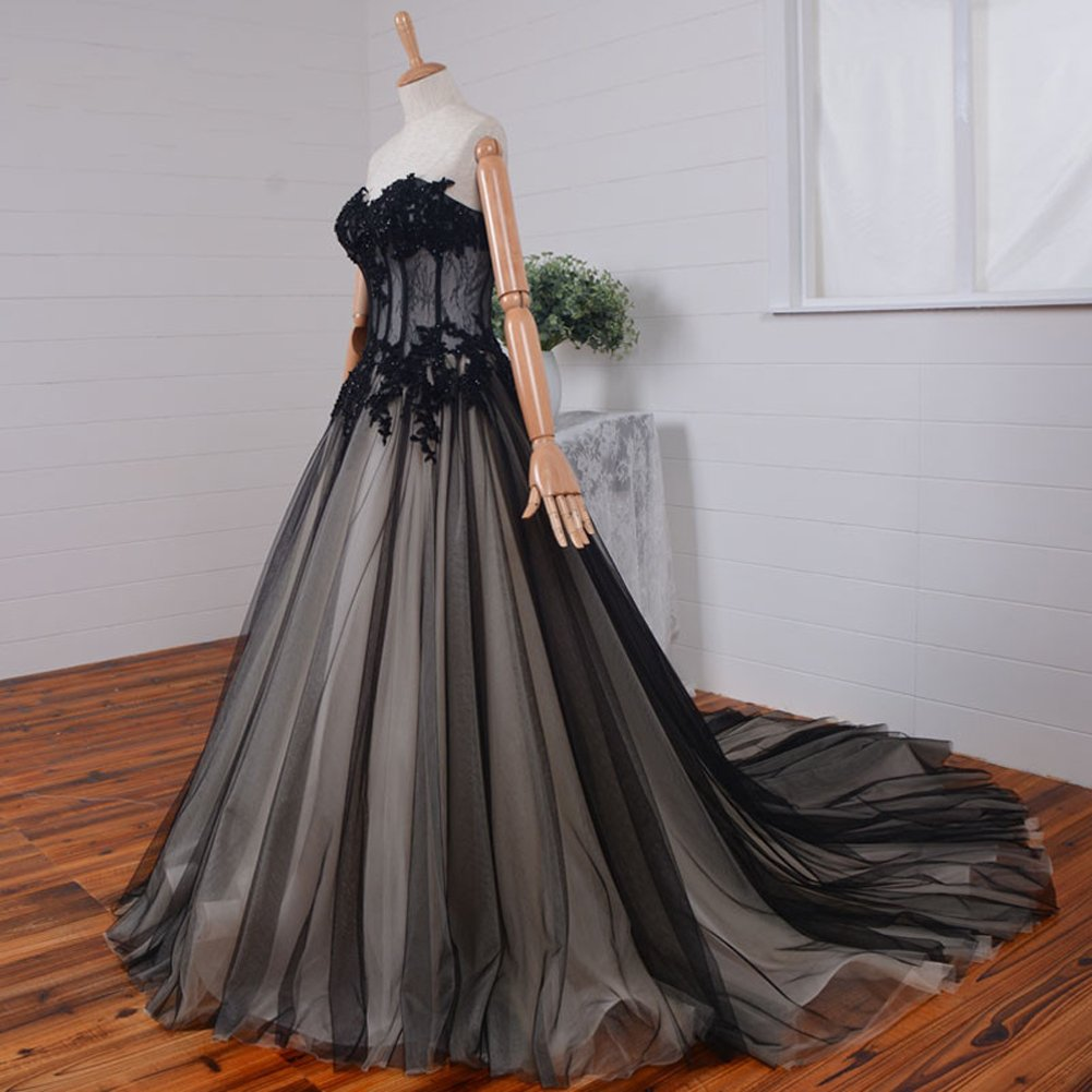 Kivary Sweetheart Long Black and Champagne Lace Tulle Gothic Corset Prom Wedding Dresses US12 by Kivary (Image #2)
