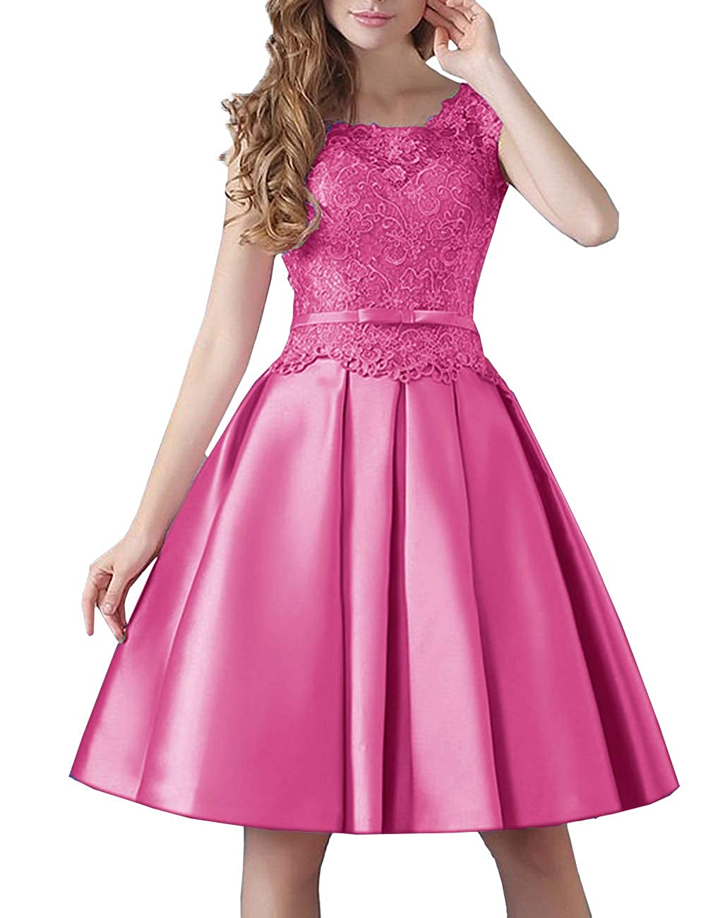 Hot Pink Uther Prom KneeLength Lace Cocktail Dress Short Stain Homecoming Dresses for Girls