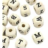 Souarts Mixte Forme de Cube Motif Alphabet d'Anglais Perles Intercalaires en Bois Motif Aleatoire Lot de 200pcs