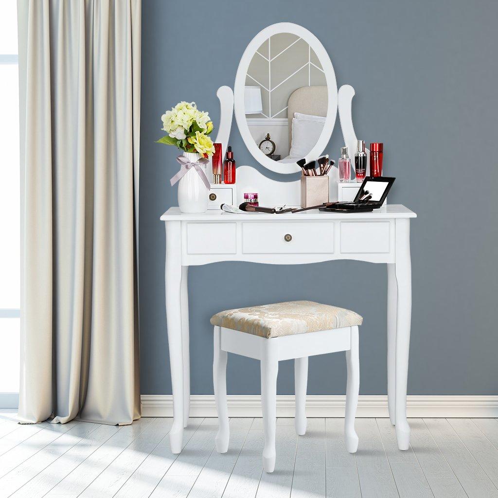 80 x 40 x 137 cm, Mod/èle LRDT-001WT, Blanc LANGRIA Coiffeuse Table Maquillage avec Miroir Ovale Pivotant et 3 Tiroirs Tabouret Rembourr/é Meuble Classique Vintage Style Anglais Queen Anne