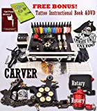 CARVER Tattoo Kit 4 Machine Guns Power Supplies / 2 Rotary Machines / 2 Coil Machines / 15 INK / LCD Power Supply / 50 Needles / PLUS Accessories
