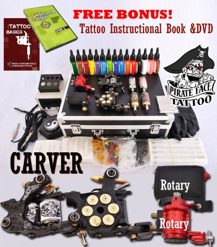 CARVER Tattoo Kit 4 Machine Guns Power Supplies / 2 Rotary Machines / 2 Coil Machines / 15 INK / LCD Power Supply / 50 Needles / PLUS Accessories Pirate Face Tattoo