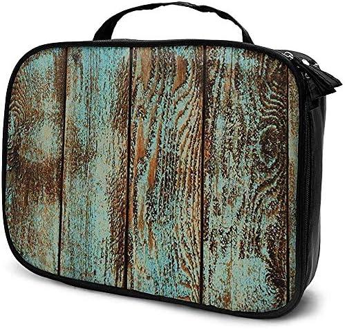 Estuche cosmético de Rayas de patrón de Madera Vintage Bolsa de artículos de tocador Multifuncional con Cremallera Impermeable: Amazon.es: Equipaje