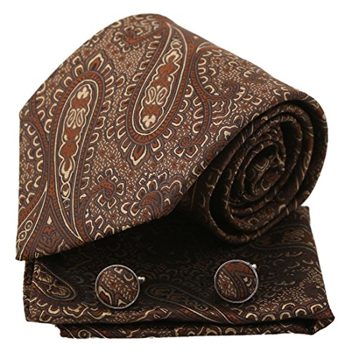 - Brown Patterned Woven Silk Tie Hanky Cufflinks Gift Box Set sienna personalized gift Pointe Tie PH1082 One Size sienna