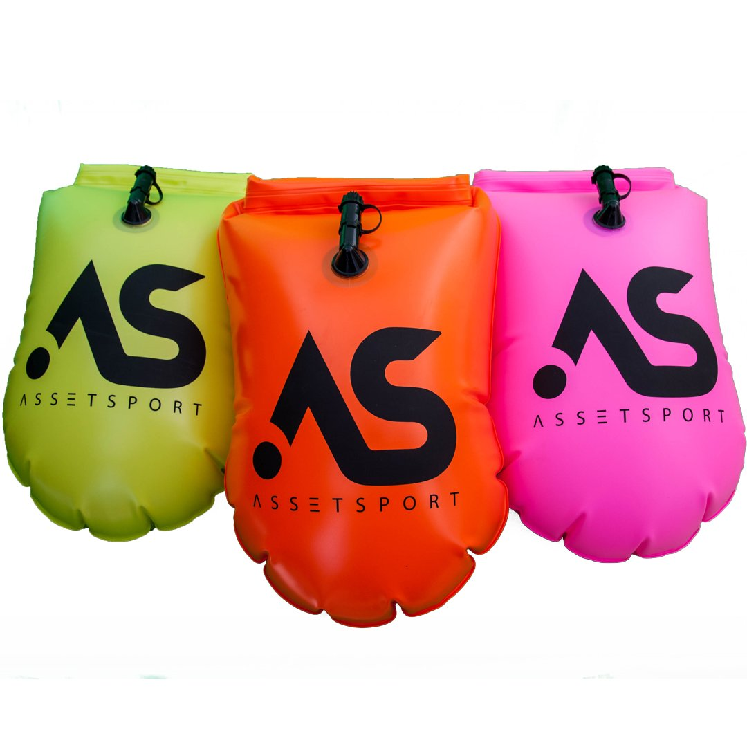 AssetSport Inflatable Swimming Buoy – Safety Swimming Buoy w/Waterproof Phone case, 2 LED Lights (Night Visibility) and…