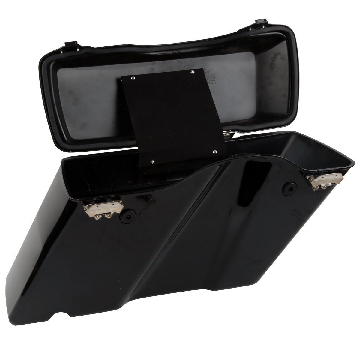 XFMT Gloss Black Hard Saddle bags Trunk w/Lid Latch & Key+Saddlebag Conversion Brackets Mounts Compatible with Harley Davidson Softail 1994-2013 by XFMT (Image #4)