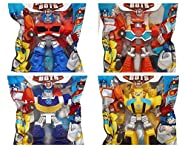 """Playskool Heroes 4"""" G1 Transformers Rescue Bots Grab-Pack Limited Edition Action Figures – Bumblebee, Chase Police-Bot, Heatwave Fire-Bot, and Optimus Prime – SET of 4"""