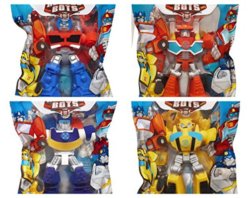 "(Playskool Heroes 4"" G1 Transformers Rescue Bots Grab-Pack Limited Edition Action Figures – Bumblebee, Chase Police-Bot, Heatwave Fire-Bot, and Optimus Prime – SET of 4)"