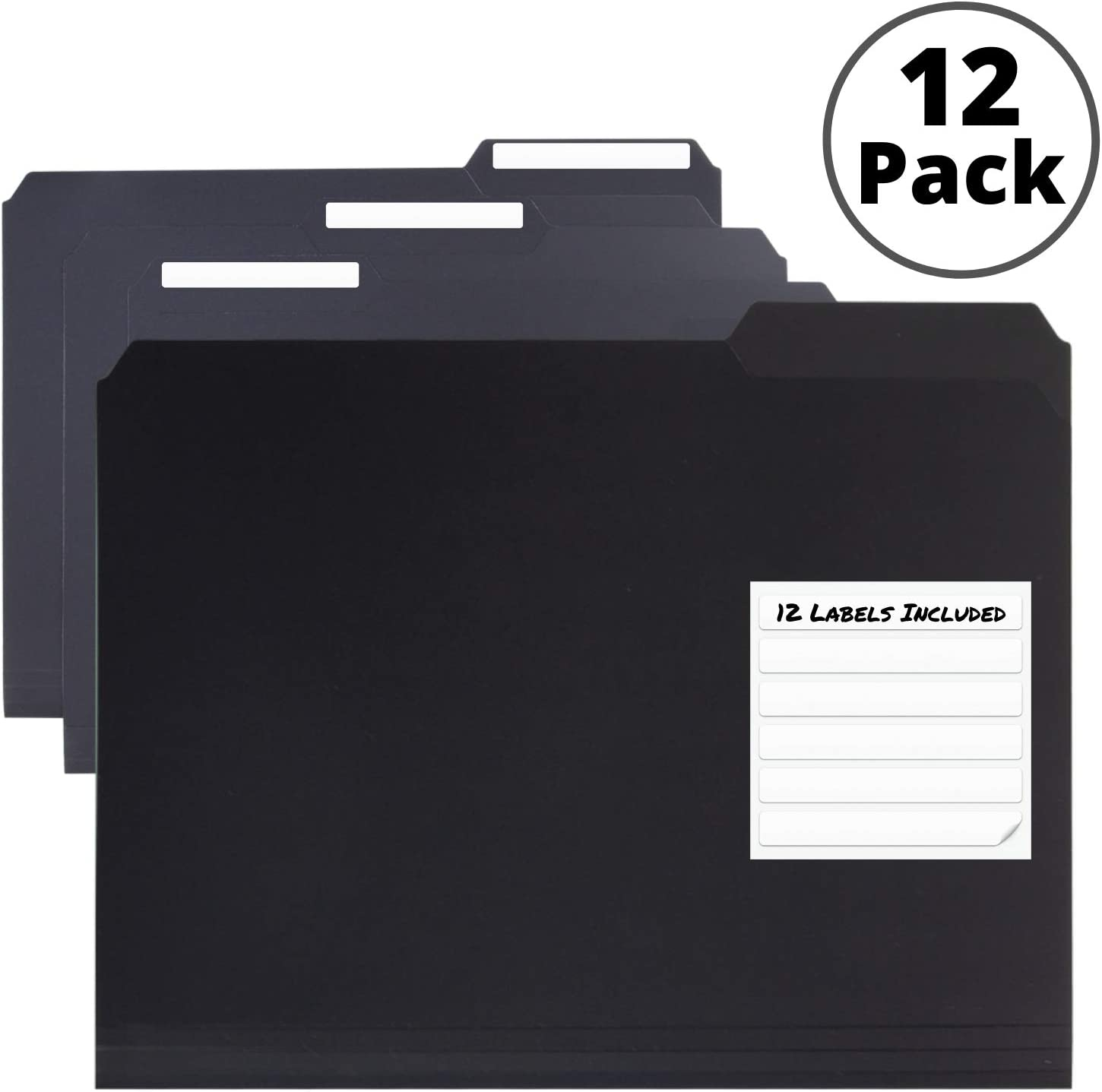 Black Plastic 3-TAB File Folders (12 Pack) Letter Size, Poly Folder, 1/3-Cut Tabs, Labels Included, Writable Erasable Top Tabs, Durable, Tear-Resistant, Acid-Free for Document Filing Storage