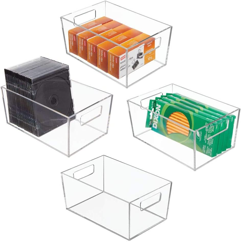mDesign Rectangular Plastic Office Supplies Storage Organizer Bin with Handles for Paper Pads, Pens, Pencils, Dry Erase Markers, Highlighters, Sticky Notes, Mailing Labels - Small, 4 Pack - Clear