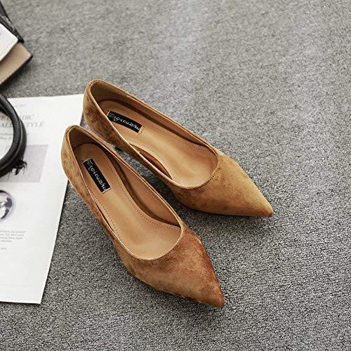 Willsego Tip of of of The high Heels Schuhe Flache Mund Einzelschuhe fein mit Frauen in schwarz mit matt niedrig und Pendelschuhe Damen Schuhe, 37, Khaki f42bb8
