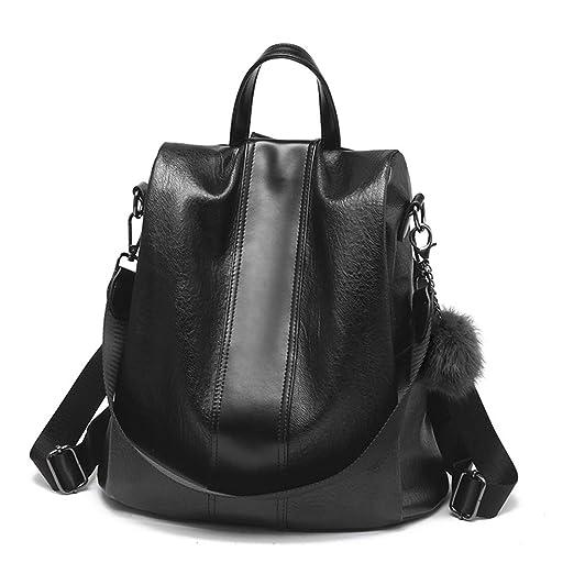 HaloVa Women's Backpack, Travel Daypack, Anti-Theft Shoulders Bag, Trendy Crossbody Bag, Black