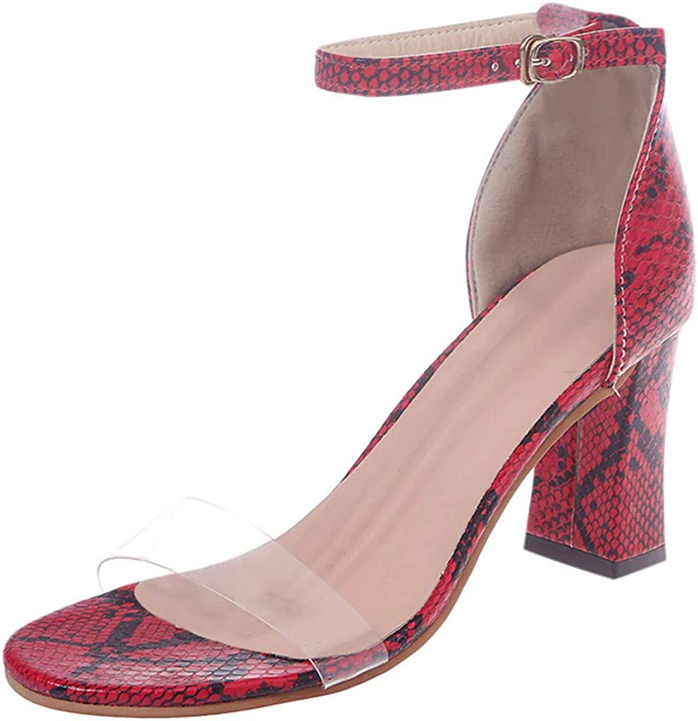 Womens High Heels Fashion One Band Belt Buckle Snakeskin Sandals Ladies Shoes