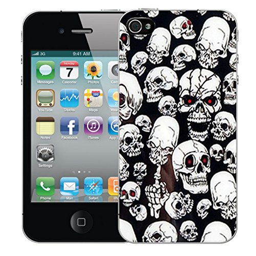 Mobile Case Mate iPhone 5 Silicone Coque couverture case cover Pare-chocs + STYLET - Black Multi Skull pattern (SILICON)