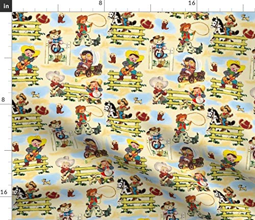 Cowboy Fabric - Cowgirl Michael Miller Paris Bebe Fabric Vintage Puppies Print on Fabric by The Yard - Sport Lycra for Swimwear Performance Leggings Apparel Fashion