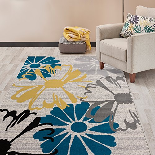 (Rugshop Contemporary Modern Flowers Area Rug, 7'6
