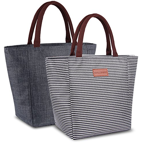 BALORAY 2 Pack Insulated Reusable Lunch Tote Bag with Zipper Closure Foldable Lunch Bag Cooler Lunch Box for Women/Men/Adults (2 Pack Black Strip&Grey) ()