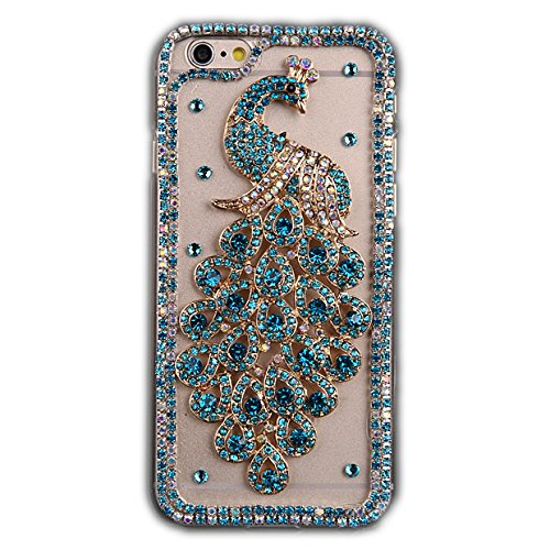 STENES iPod Touch (6th Generation) Case - Luxurious Crystal 3D Handmade Sparkle Diamond Rhinestone Cover With Retro Bowknot Anti Dust Plug - Brilliant Peacock/Green