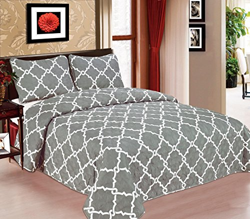 Galaxy Bedspread 3-Piece Quilt Set Soft Quilted Bedding New ArrIval SALE! (King, Grey) (Bedding Set Sales)