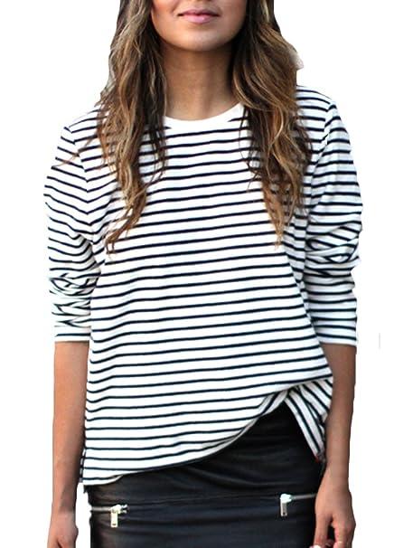 6441e21305a6 T-Shirt Donna Eleganti Tops Manica Lunga A Strisce Rotondo Collo Casuali  Bluse Autunno Inverno Pullover Magliette di Base Camicetta Camicia A Righe  ...