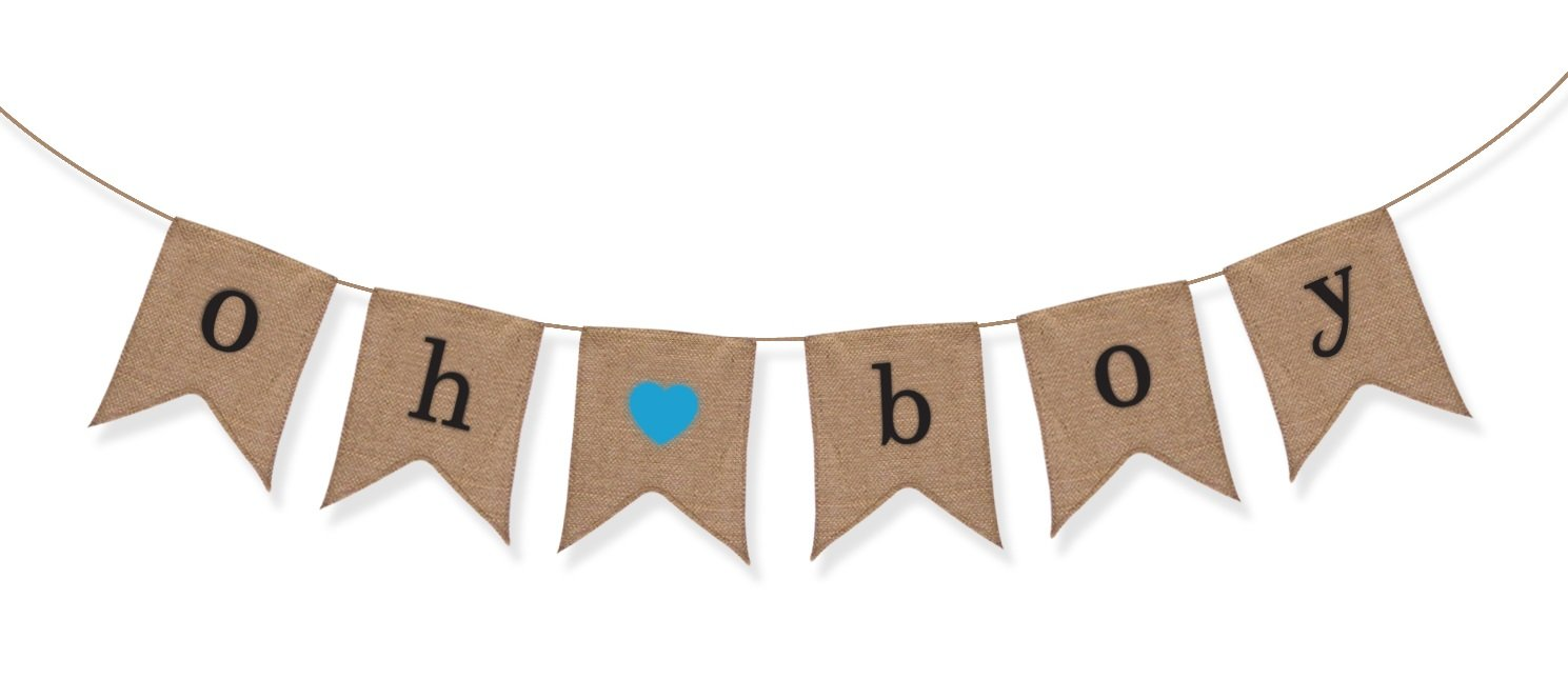 """Oh Boy"" Burlap Banner - Baby Shower Decorations For Boy - Gender Reveal Party Sterling James Co."