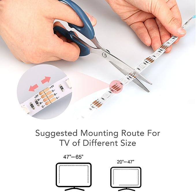 USB Tiras LED 2M con Alimentación Cargador de AGPTEK, 60 Leds 5050 SMD RGB Tira LED Kit Completo con Mando a Distancia 20 Teclas hay 6 modos 8 colores para ...