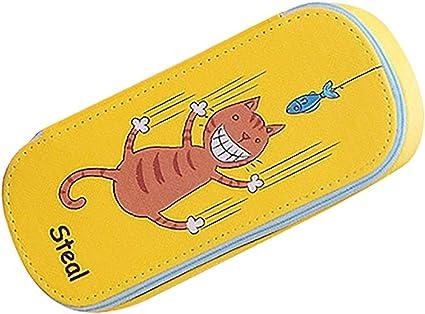 Topdo 1 pcs Estuche grande para lápices estuche de plumas de dibujos animados lindo estuche de lápices de PU,Gato,Amarillo(19.5 * 8.5 * 4cm): Amazon.es: Oficina y papelería