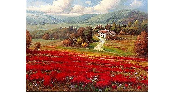 Poppy Fields Afar by Marino Landscape Europe Flower Poppies Print Poster 18x24
