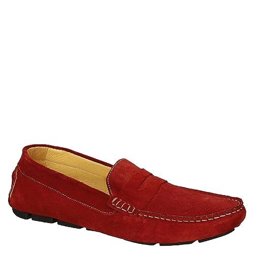 Mocasines de Ante Rojos para Hombre Hechos a Mano en Italia: Amazon.es: Zapatos y complementos