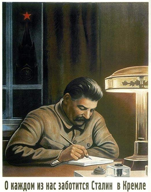 POLITICAL PROPAGANDA COMMUNISM STALIN KREMLIN SOVIET UNION VINTAGE POSTER 1835PY