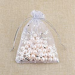 "KINGWEDDING 3""x4"" 8x10cm Organza Drawstring Strong Candy Jewelry Pouch Gift Bag For Party Wedding Favor (100Pcs) (Snowflake)"